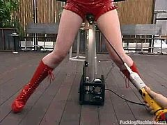 This fetish lover Justine Joli is a redhead with some fantasies. She wears her red leather boots and spreads her legs for a machine.