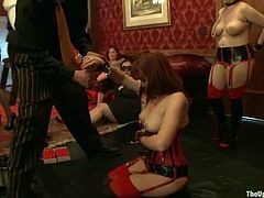 Lilla Katt and some other girl are getting punished by Maestro Stefanos and his buddies. The men bind the chicks, torment them and then destroy their nice holes wit their cocks.