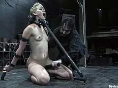 Lewd blonde Dylan Ryan is getting her punishment. Some dude binds and hangs her up and attaches massive weights to her nipples.