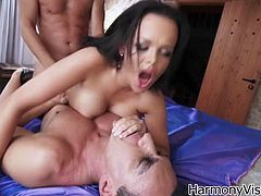Linet Slag looks ugly because of the huge forehead. However she is still seductive woman having gorgeous body shape. Experienced porn actress Linet Slag gets DPed in raunchy MMF 3some porn clip that is presented to you by Harmony Vision.