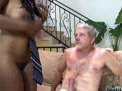Curvaceous ebony bitch with big tits and bubble butt gives deepthroat blowjob to white dude and rides his prick in reverse cowgirl pose. Babe bends over and takes it up her black poon doggystyle.