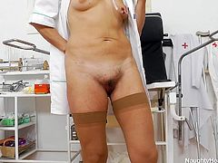 Meet our special nurse Lada. Now this broad may look a bit saggy but she really knows her job! When she's not busy giving those painful shots and checking out her patients, Lada checks out her pussy! She enjoys her free time by gaping her vagina really wide and showing us her sweet vagina!