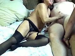 Duet of sex craving flabby moms enjoys sucking one small cock and get their dirty cunts banged in sideways pose in turn.