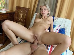 Nicol knows that he likes her and she let him to fuck her shaved cunt and tight asshole. This dude was so horny and he stayed in her ass when he jizzed