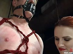 This man gets tied up with straps by kinky redhead Claire Adams. After that she toys his ass with a strap-on and whips him with a stick.