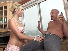 Innocent looking petite pale blonde slut Kodi Gamble with natural boobs and great hunger for cock loses control while talking with dirty Jenner and takes on his meaty pecker.