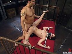 This beautiful and smoking hot siren Amber Rayne is getting tortured by Steven. He ties her up and bangs her wet pussy. Then he takes his cock out and waxes her petite ass!