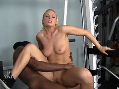 If the blonde Jayme Janes is excited because shes working out at the gym and her interracial personal trainer is about to begin fucking her cock socke