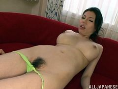 Amazing Japanese MILF with big tits gives titjob & blowjob combo. This hottie also gets her tight pussy licked and fucked.