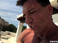 Sex hungry slut sucks king size dong like greedy. Later well-endowed dude thrusts his big dick in her ass hole and fucks her without mercy near the pool.