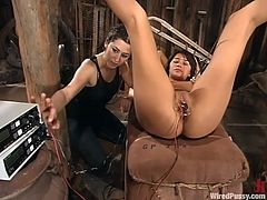 Filthy sex slave gets some charge deep in her tight beaver