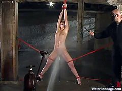 She was a very dirty blonde slut and now we make sure, she's gonna get clean. Kelly looks damn fine completle naked and with a dildo in her pussy. Her body is tied tight with rope and water jets are cleaning her. This filthy whore will get cleaned in notime, but what can we do with her dirty attitude?