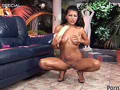 See this stunning exotic beauty called Yoha Galvez and how she inserts a huge dildo inside her pussy in this solo masturbation vid.