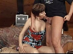 Lustful dark-haired mom Rosamund shows her outstanding cock-sucking skills to some guy. Then they fuck in cowgirl position and doggy style and the bitch moans loudly with pleasure.