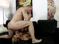 Brunette Candy Alexa with huge knockers gets a nice vagina fuck in steamy sex action with hot guy