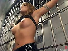 Sexy beauty Lorena Sanchez gets bound by Steven St. Croix in prison. Steve licks Lorena's ass, then pokes his prick in her mouth and pussy and enjoys the way she moans.