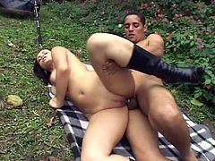 Nasty Rafaela meets some homie at the garden and gives him nice afternoon. Dude quickly undressed her and start licking her pussy and ass before he slammed her hard