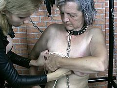 Filthy granny Blanca takes part in provocative BDSM porn video. Her hands and tied up behind the back. Her tits are also tied up with rope.