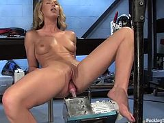 Horny Mason takes strips the clothes off in her secret room. She toys herself with a vibrator and then gets drilled deep by the fucking machine in both holes.
