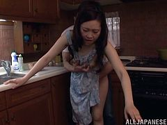 She was cooking or cleaning up or something when the dude came to fuck her on the kitchen counter, check it out right here!