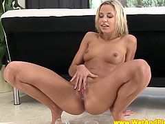 This charming European blonde plays with her bald pussy and with her own pee. She also inserts a speculum inside her young and pink fanny and tastes her golden juice.