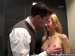 This blonde Euro cutie gets approached on the street and talked into going to a public bathroom and giving a double blowjob for cash, will she do it? Check it out for yourself in this free tube video.