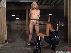 Angelene Black and Sandra Romain are having a good time in a basement. The blonde lets the brunette tie her up and then enjoys getting her cunt smashed with a wired toy.