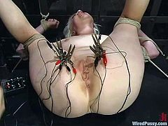 Lorelei Lee get sbound and hung up by Princess Donna Dolore in a cellar. Then Donna decorates Lorelei's body with wires and pleases the blonde with some ardent toying.