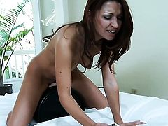 With small tits and bald beaver loses control after taking dildo in her love box