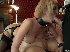 Gorgeous Bella Rossi and Cherry Torn get chained to each other and kiss. Later on they toy and lick each others pussies. In addition they suck a cock.