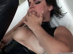 Lusty brunette chick with big boobs gives head showing off her outstanding skills. Sizzling MILF with hairy pussy gets penetrated from behind later in the video. She moans wild getting screwed hard from behind.