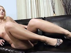 With tiny tits and hairless pussy does her best to turn you on in solo action