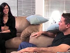 Alyssa Reece teasing guy and taking his rod deepthroat to get a facial cumshot. First, she plays with her cunt then jerks him off like a pro!