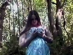 Salacious blonde Cassandra is having some nice time in a forest. She strips and strokes her plump body and then plays with her shaved pussy and moans loudly.