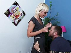 Lexi Swallow with small tities cant resist Scott Nailss erect rod and takes it in her mouth