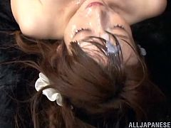 At Bukkake Now we like pretty chicks, such as Hana, we like them glazed! The prettier the girl is, the more cum she receives from our guys, and this slut is pretty enough, to get completely glazed! She receives cum on her hair, lips and of course, in her mouth! Surely, she deserves much more!