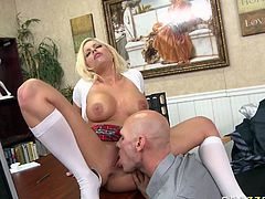 Johnny Sins is a dean of nasty student bitch Britney Amber. They have a hardcore quickie in Johnny's office. Busty Britney gives ice blowjob and gets her tight shaved pussy eaten.