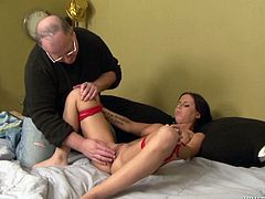 Sleeping brunette girl in sexy lingerie gets undressed and tied up by old dude. He turns on the fucking machine and watches at the hot show. Brandy gets a lot of pleasure.
