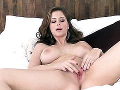Emily Addison shows it all as she plays with her love tunnel