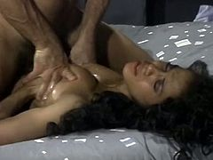 Shapely ebony girl takes white dick up her hairy black pussy doggystyle while sucking other dude's cock. Ebony cutie gets her big tittied fucked and takes pearl necklace.