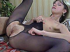 Kristall Rush and Hloe in black stockings has passionate sex with handsome stud