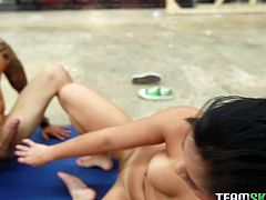 This oriental chick is sick and tired of her trainer's excuses. She wants to fuck him silly and this time she isn't taking no for an answer. She gets into sideways position to let him pummel her hard. Damn, this sexy temptress knows how to keep her pussy in shape!