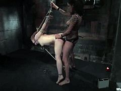 The redhead Madison Young will get strapon fucked by a dominant lesbian who tied her up in kinky and wicked ways beforehand.