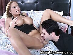 Alanah Rae with giant breasts and shaved muff enjoys another hardcore session with Charles Dera