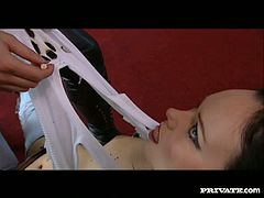 Blonde busty babe tears Suzie's clothes and forces to lick and to finge her pierced kitty in steamy Private xxx lesbian video!