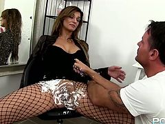 Just look how horny and sexy this slut is! Horny stud shaves her juicy twat the way she likes it. Then he fucks her muff with her favorite dildo.