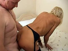 She's old but still sweet and she still can give a man pleasure. Her doctor knows that and attacked her with his mighty cock.