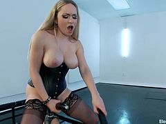 Bailey Blue it the blue eyes blonde you'd like to see fucked over and over and over again! She's a smoking hot beauty with a sexy body and a passion to be shocked and humiliated. Aiden takes care of those needs as she straps on a dildo on Bailey's face, sucks it and then gets her pussy filled by it. Want more?