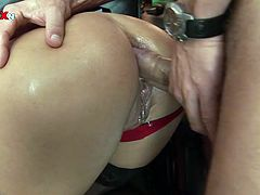 Her sexy and big ass got banged really hard at the office