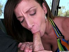 Slutty dark haired MILF shows off her huge tits and her king sized butt in bangbus. mature bitch gives blowjob slurping on that sweaty cock.